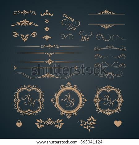 Vintage set of decorative elements. Wedding monograms. Calligraphic elegant ornaments.  - stock photo