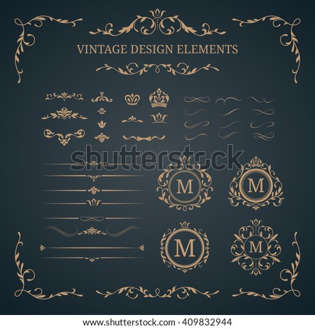 Vintage set of decorative elements. Wedding monograms. Calligraphic elegant ornaments.  - stock photo