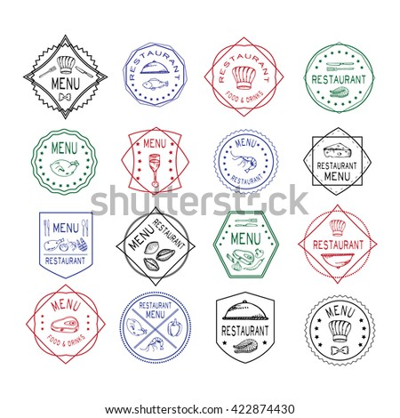 Vintage set of restaurant signs, symbols, logo elements and icons. Calligraphy decorations collection for restaurant menu. Set of Doodle logos for restaurants - stock photo