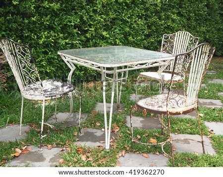 Vintage set of table and chairs for outdoors in the garden