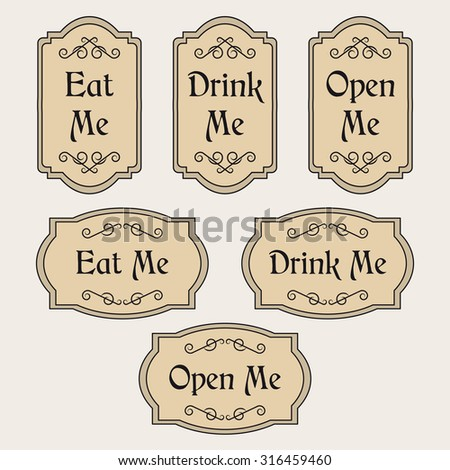 Vintage set with labels Eat me, Drink me, Open me - stock photo