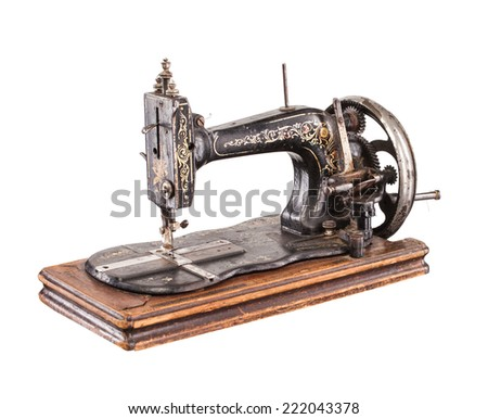 vintage sewing machine - stock photo