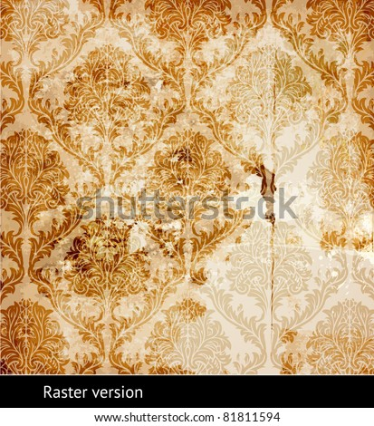 Vintage shabby background with classy patterns. Raster version. - stock photo