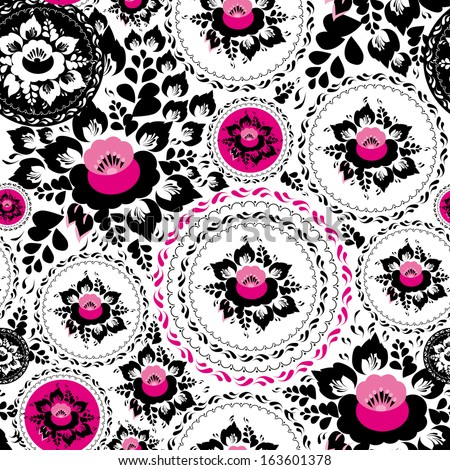 Vintage shabby Chic Seamless ornament pattern with Pink and Black flowers and leaves - stock photo