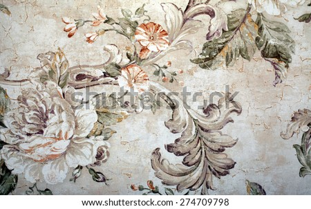 Vintage shabby chic wallpaper with floral victorian pattern and craquelure - stock photo