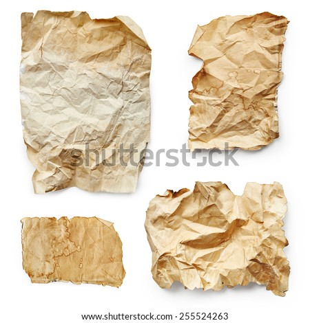 Vintage sheets of paper isolated on white background