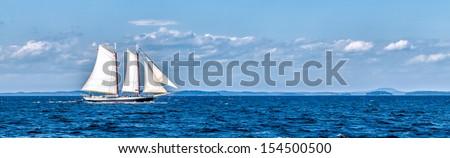 Vintage ship sailing panorama banner - stock photo