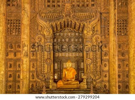 Vintage Shwenandaw Kyaung temple in Mandalay historical park - stock photo
