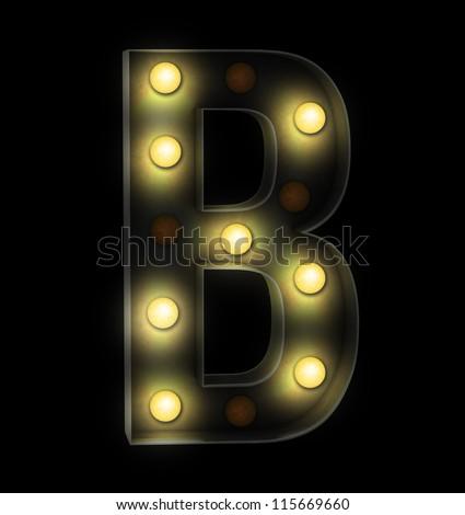 Vintage sign light font - stock photo