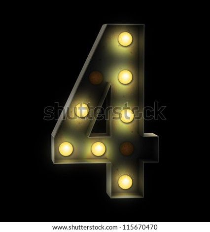 Vintage sign light number four - stock photo