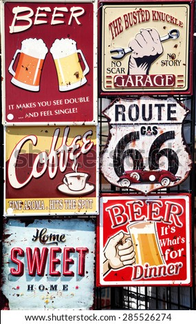Vintage signboards - stock photo