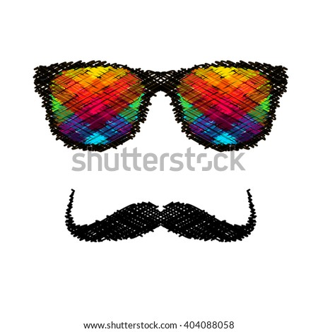 Vintage silhouette of top hat, mustaches, bow tie - illustration. - stock photo