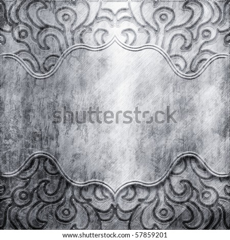 vintage silver background with shabby pattern - stock photo
