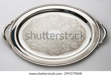 vintage silver decorate dish isolated - stock photo