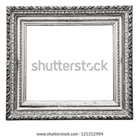 vintage silver frame isolated on white