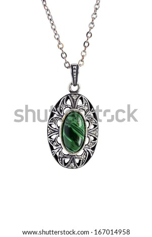 Vintage silver pendant with big malachite isolated over white