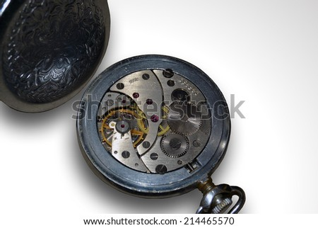 Vintage Silver Pocket Watch  - stock photo