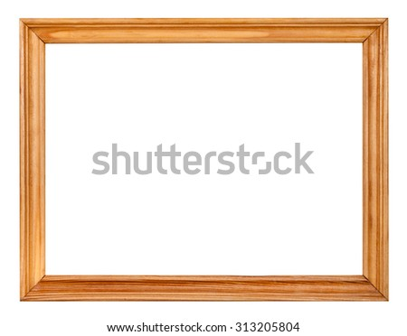 vintage simple narrow wooden picture frame with cut out blank space isolated on white background - stock photo