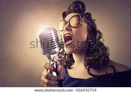 Vintage singer - stock photo