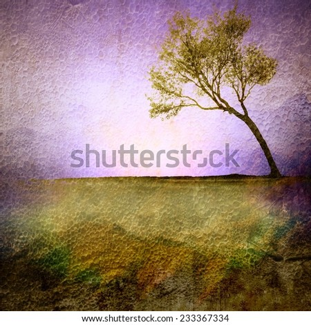 Vintage single tree - stock photo