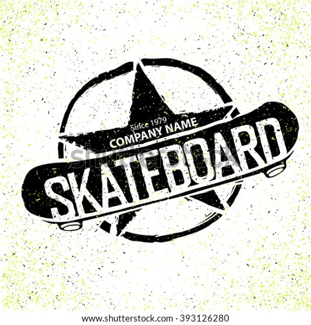 Vintage Skateboard Logotype. With star in circle sign. Can be used to print on T-shirts. Raster version.