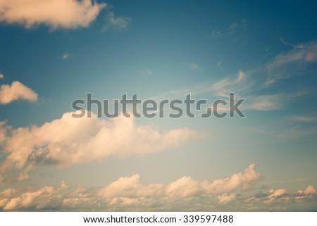 Vintage sky cloud background at dusk - stock photo