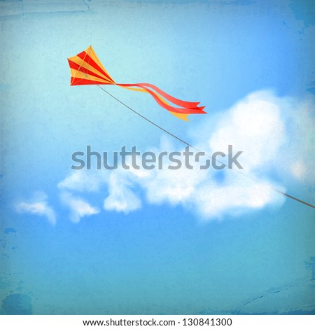 Vintage sky old paper background. Flying kite, white fluffy clouds, divider lines, subtle grunge texture at the backdrop in blue colors on a clear summer day. Concept dream design in retro style