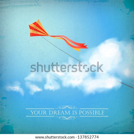 Vintage sky old paper background. Flying kite, white fluffy clouds, divider lines, text, subtle grunge texture at the backdrop in blue colors on a clear summer day. Vector file in my portfolio