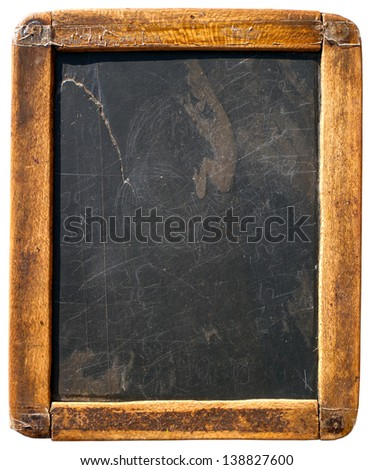 Vintage slake blackboard isolated on white - stock photo