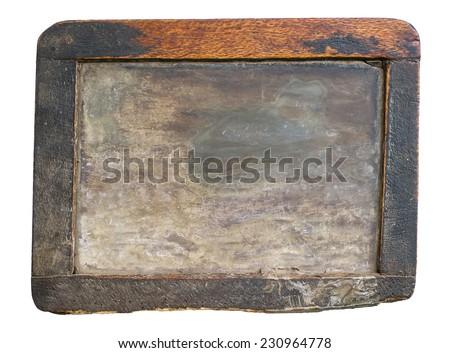 Vintage slake blackboard isolated on white - stock photo