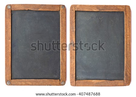 Vintage slake blackboard isolated on white. Two sides of one board. - stock photo