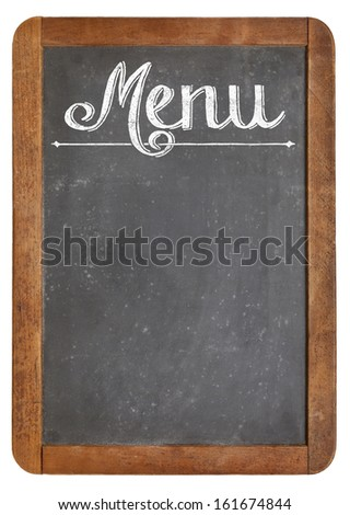 vintage slate blackboard in wood frame  with white chalk smudges used a restaurant menu - stock photo