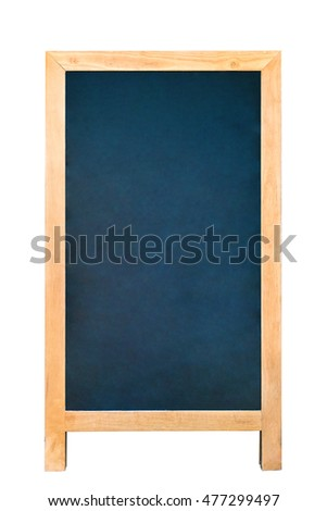 Vintage slate chalk board with wooden frame isolated on white background