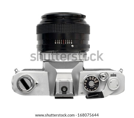 Vintage SLR film camera with prime lens bright aperture , no branding - stock photo