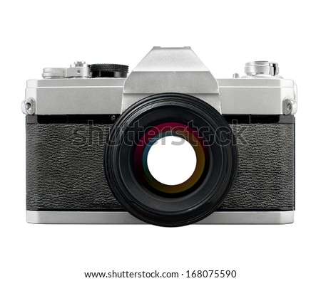 Vintage SLR film camera with prime lens wide open aperture , no branding - stock photo