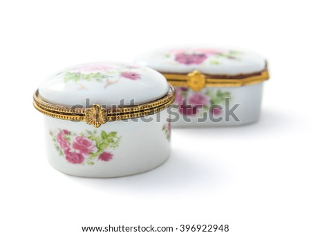 Vintage small ceramic jewelry box or porcelain China Mainland made of ceramic perfect design and realism with isolated on white background. - stock photo