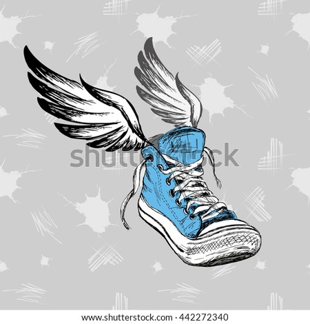 Vintage Sneakers with wings, hand drawing, illustration - stock photo