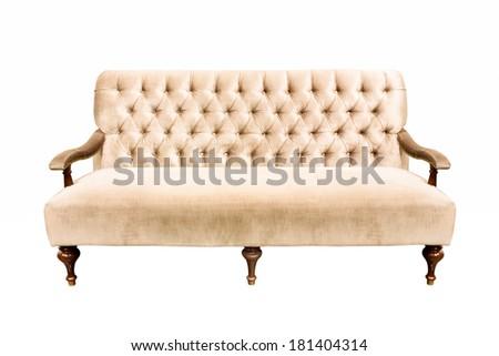 vintage sofa isolate on white background - stock photo