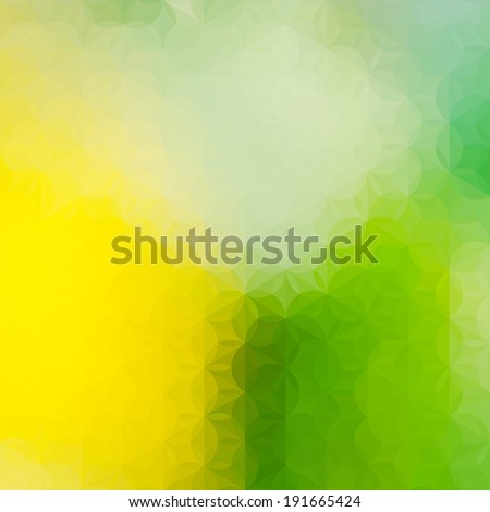 Vintage soft green and yellow defocused background with geometric triangular ornament. Raster version - stock photo