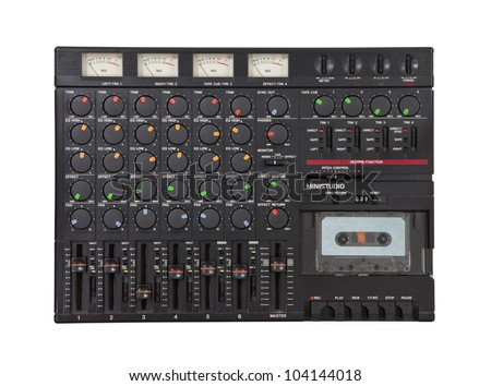 Vintage sound mixing board and cassette recording device isolated. - stock photo