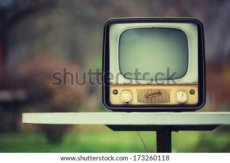 Vintage Soviet TV from 1959. 50s retro. - stock photo