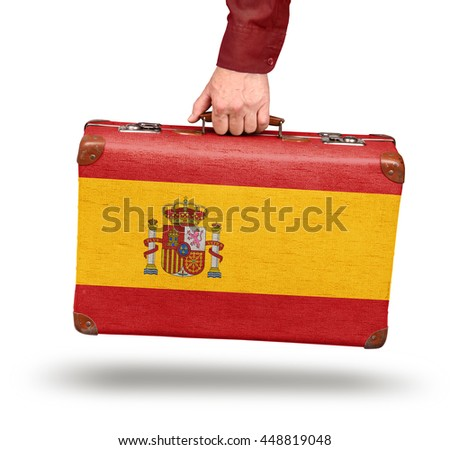 Vintage Spanish flag suitcase isolated on white travel to Spain concept - stock photo