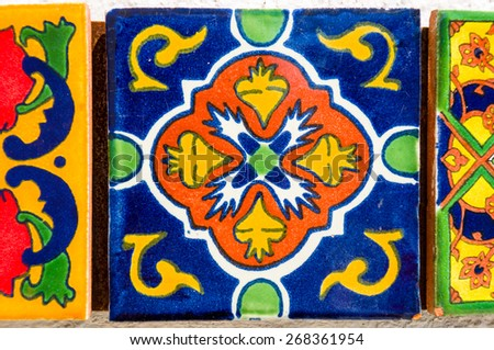 vintage spanish tile - stock photo