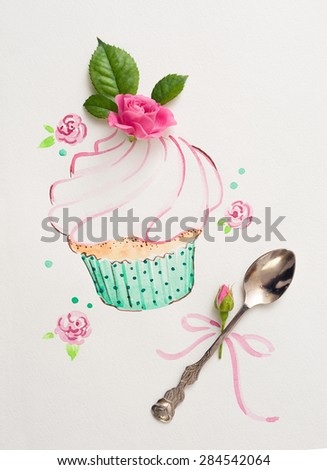 vintage spoon and painted watercolor cupcake - stock photo