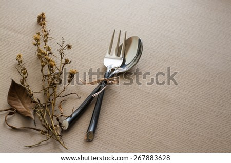 Vintage spoon fork on table