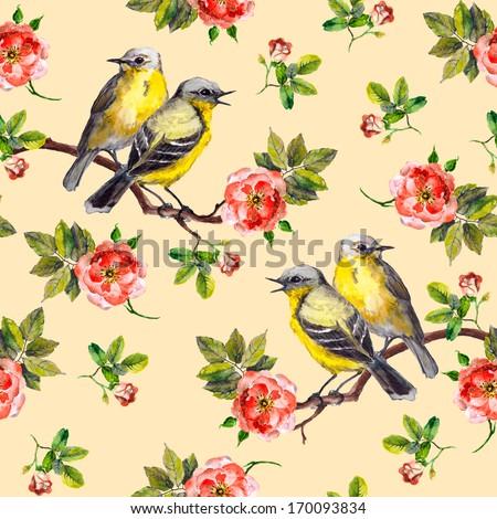 Vintage spring fabric design with retro song birds in wild rose flowers - stock photo