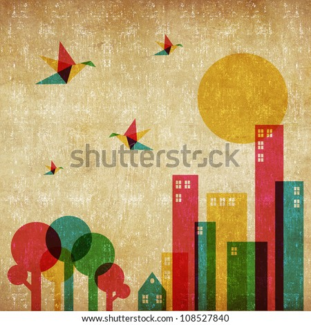 Vintage spring time in the city background. Colorful humming birds flying over the forest and city. - stock photo