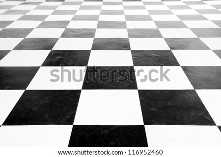 Vintage square black and white floor with wall row - stock photo