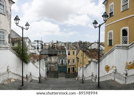 Vintage stairs at Pelourinho, Salvador - stock photo