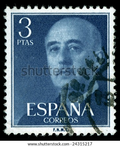 vintage stamp depicting the dictator General Francisco Franco of Spain who came to power after the Spanish civil war - stock photo